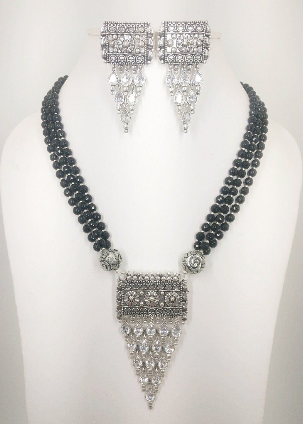 Women handmade silver oxidized necklace set with earrings ad cz