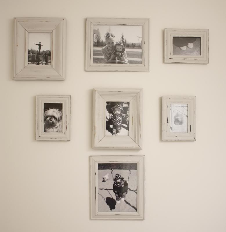 DIY Frames - Paint white and use sandpaper to distress. Love \