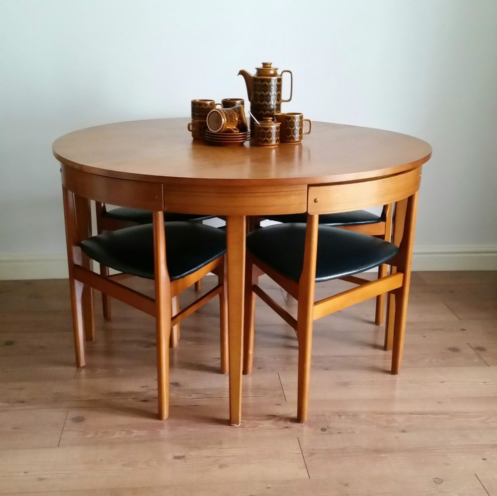 fab vintage retro mid century 60s teak hans olsen style dining table 4 chairs olsen teak. Black Bedroom Furniture Sets. Home Design Ideas
