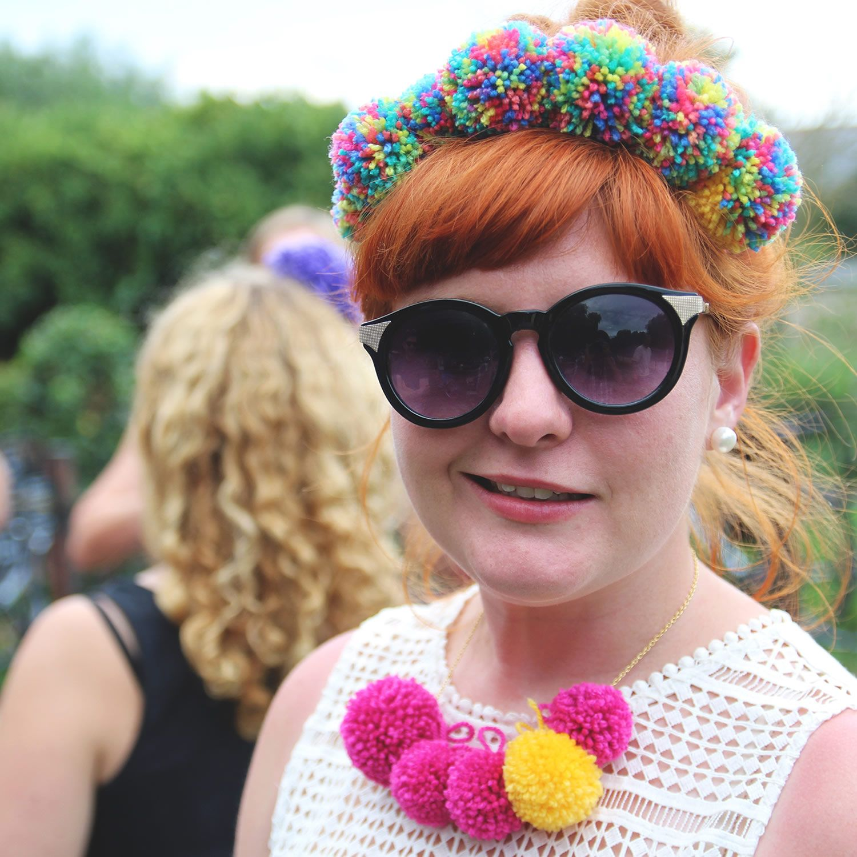 Rosie with handmade Pom Pom headband and necklace!