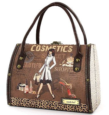 Nicole Lee Handbags Cosmotic Fashion Purse Vintage Style Tote Bag