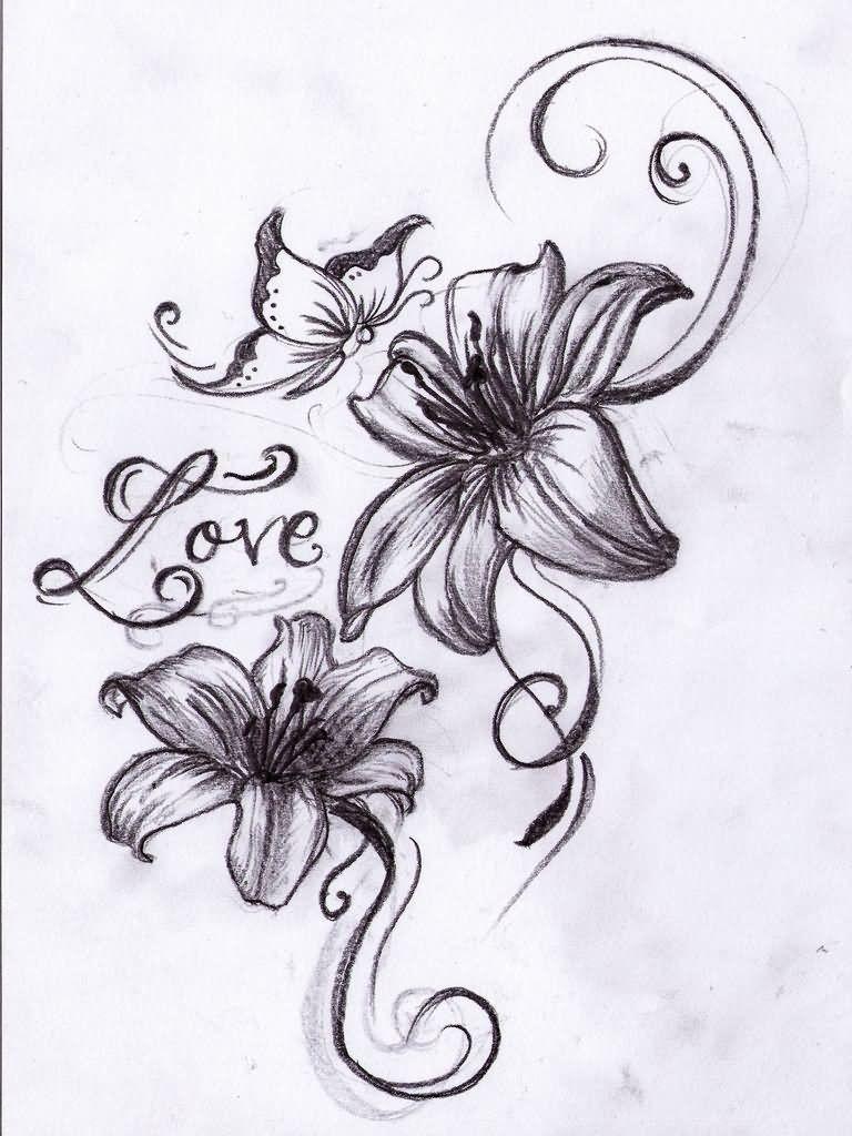 Татуировки для девушек цветок и бабочки