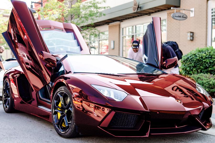 Chrome red Lamborghini Aventador