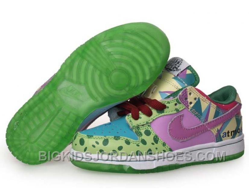 Discount Kids Nike Dunks Low Premium Atmos Project Green Pink | Nike dunks  and Kids jordan shoes
