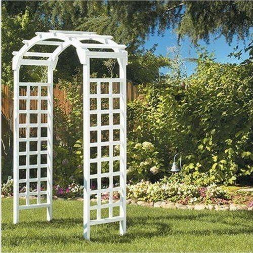 White Wooden Archway Arbor Garden Patio Arch Decor Wedding