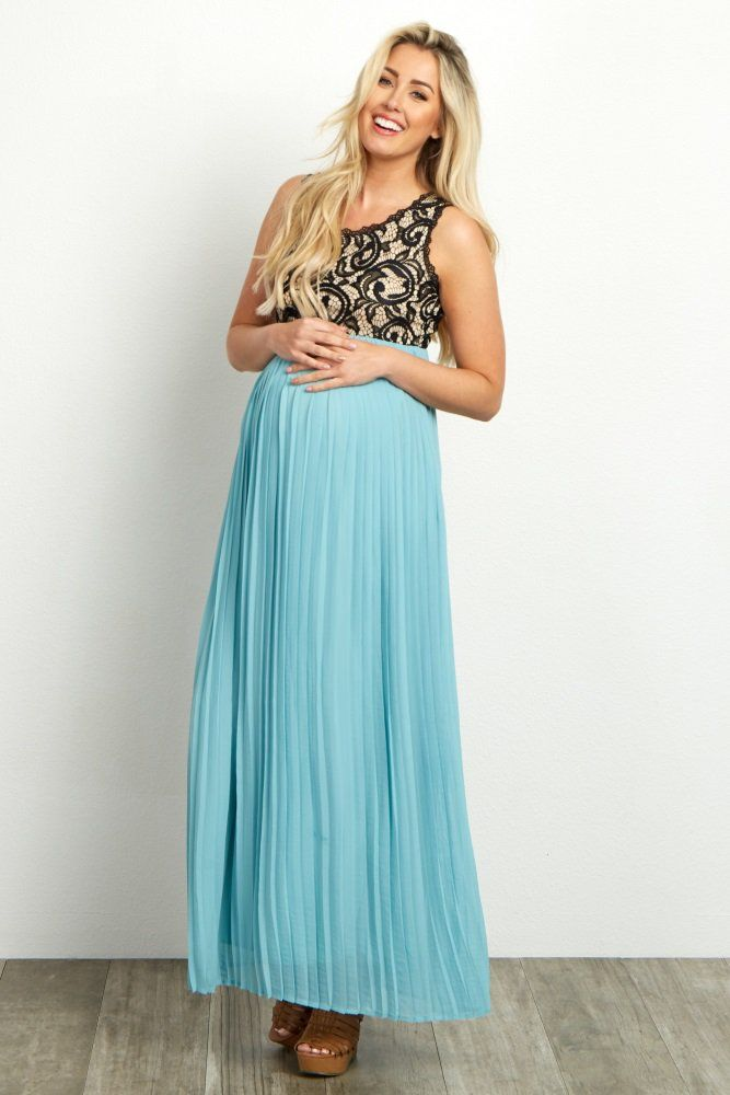 d6f737a21870 Black Pleated Chiffon Lace Top Maternity Maxi Dress | Baby shower ...