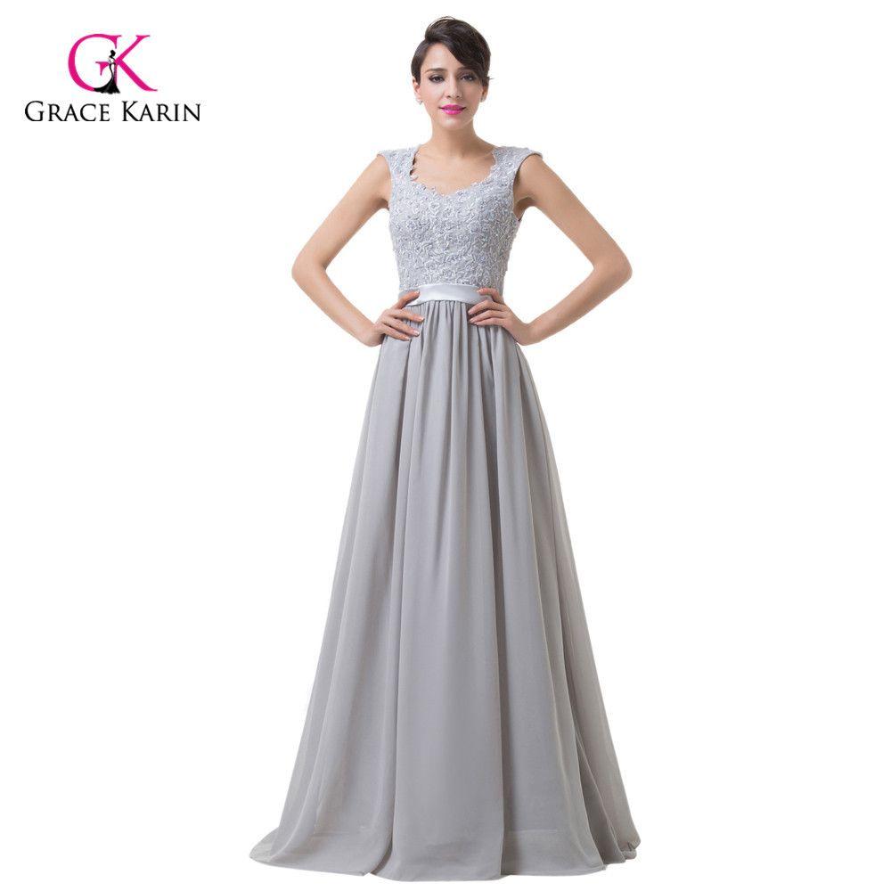 Elegant stock appliques straps grey purple cheap bridesmaid dresses