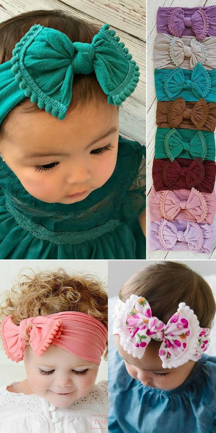 This is an adorable nylon POM POM KNOT headband! The perfect essential bow for a... - #Adorable #bow #essential #headband #knot #nylon