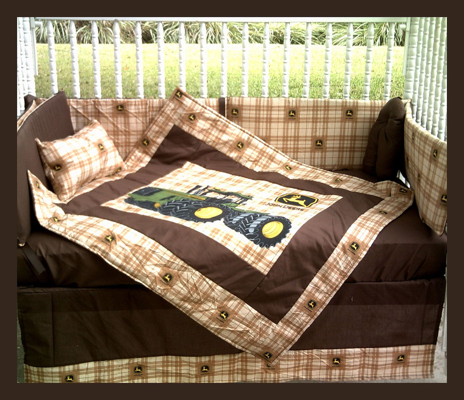 New JOHN DEERE baby crib bedding set in brown Deere plaid fabric and ...