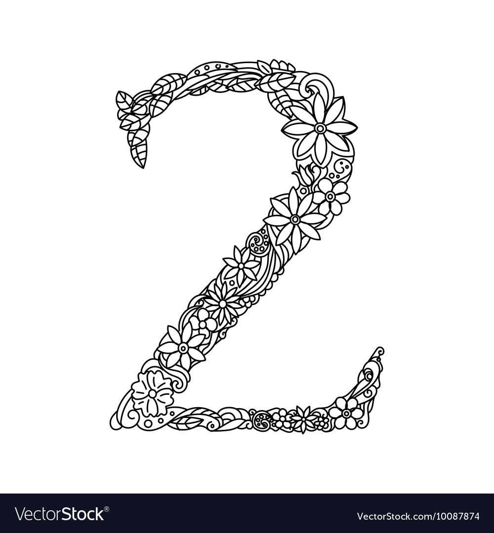 Number 2 Coloring Book For Adults Vector Image On Vectorstock Coloring Books Vintage Scrapbook Color