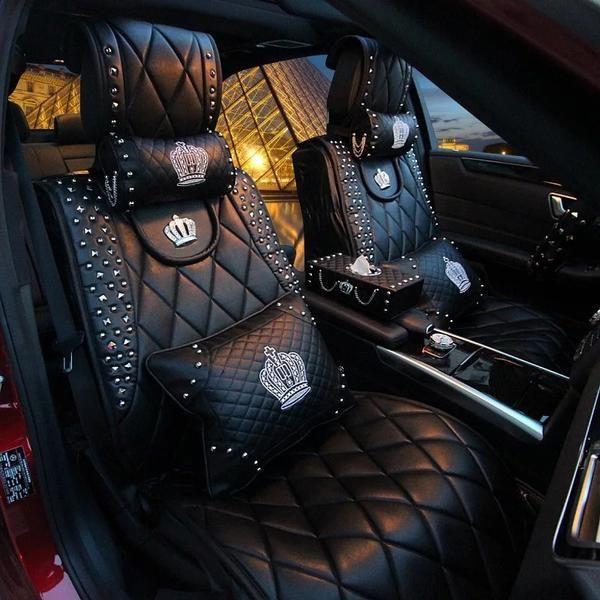 Bling Crown Car Accessories Set  Neck Pillow Visor Organizor Tissue box  Gear shift braker cover. Black white Stripe bowknot Car Neck Pillow girls gift 19x26cm 2