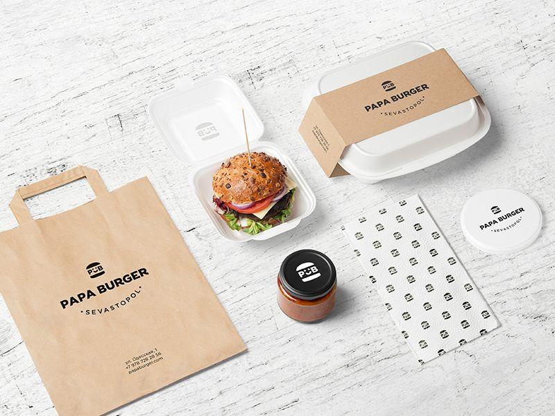 Download Burger Bar PSD Mockup | Burger packaging, Burger, Food ...