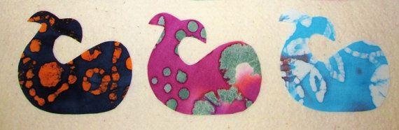 $3.95       Set of 3  Batik Tie Dye Whale Fish Iron On Fabric by MarsyesShoppe
