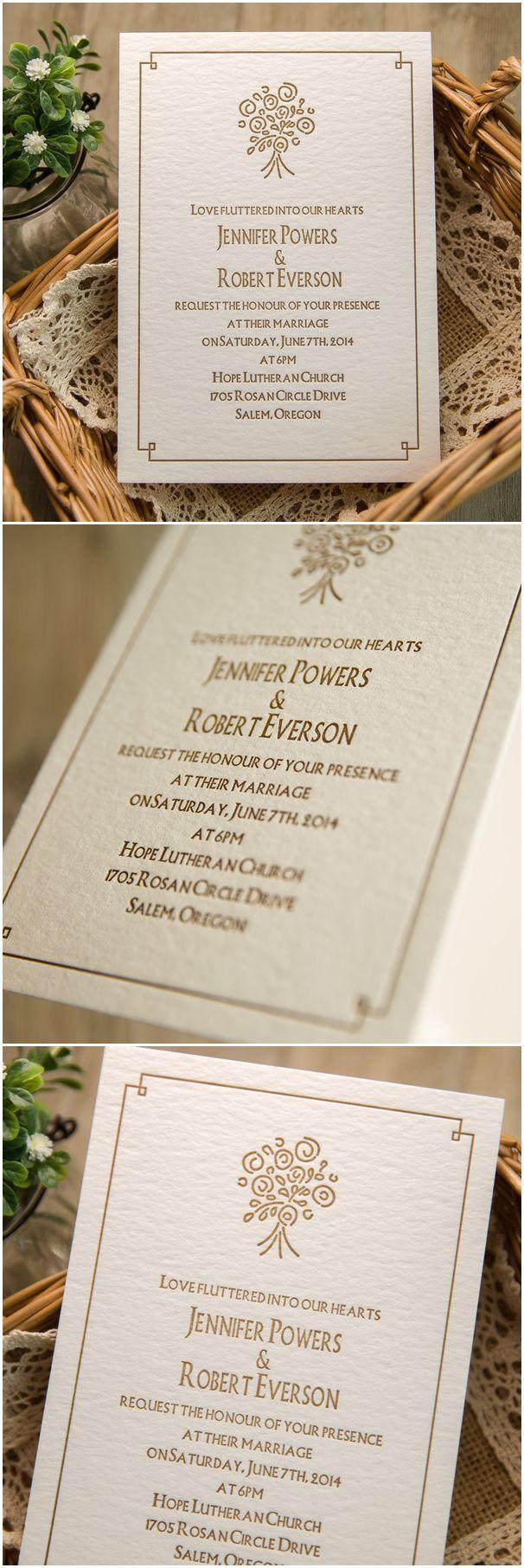 rustic brown bouquet letterpress super thick wedding invitations ...