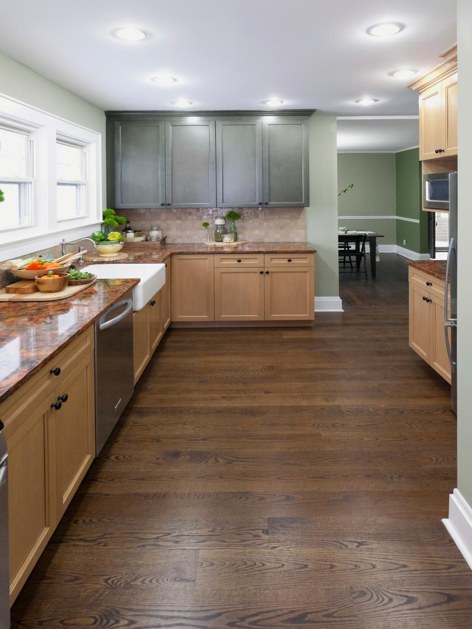 this country kitchen pairs together natural wood shaker cabinets with a top row of pai on kitchen cabinets natural wood id=64731