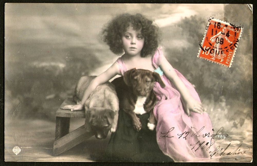 Girl With Dachshund Dogs. Posted 1908.