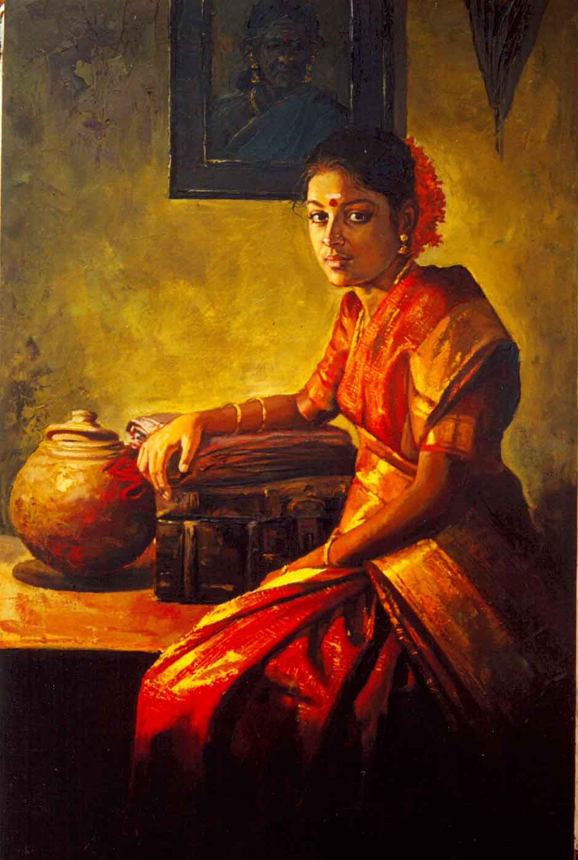 Oil Painting - Artist Ilayaraja Tamil Women