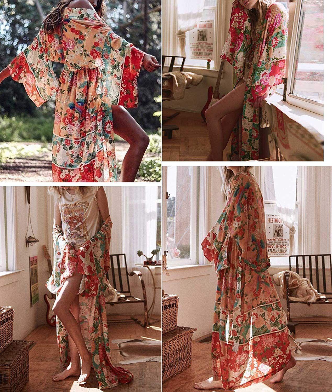 fd37c9d857d9b R.Vivimos Women Vintage Floral Print Beach Boho Cardigan Kimono Maxi Swimwear  Cover up Dress Wrap at Amazon Women's Clothing store: