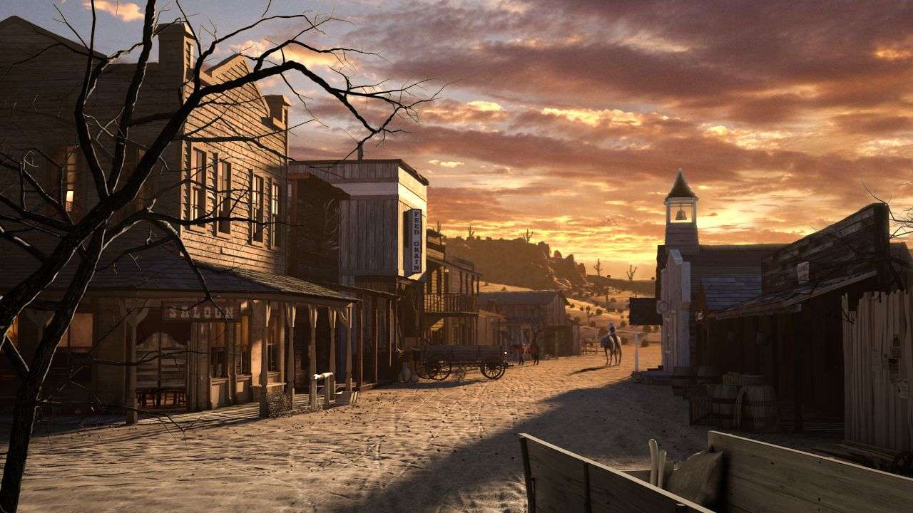 painting old west saloon town of the old west that