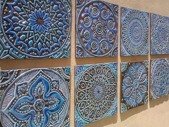 Decorative Wall Tiles 6 Moroccan Suzani Or Mandala Wall Hangings Made From Ceramic