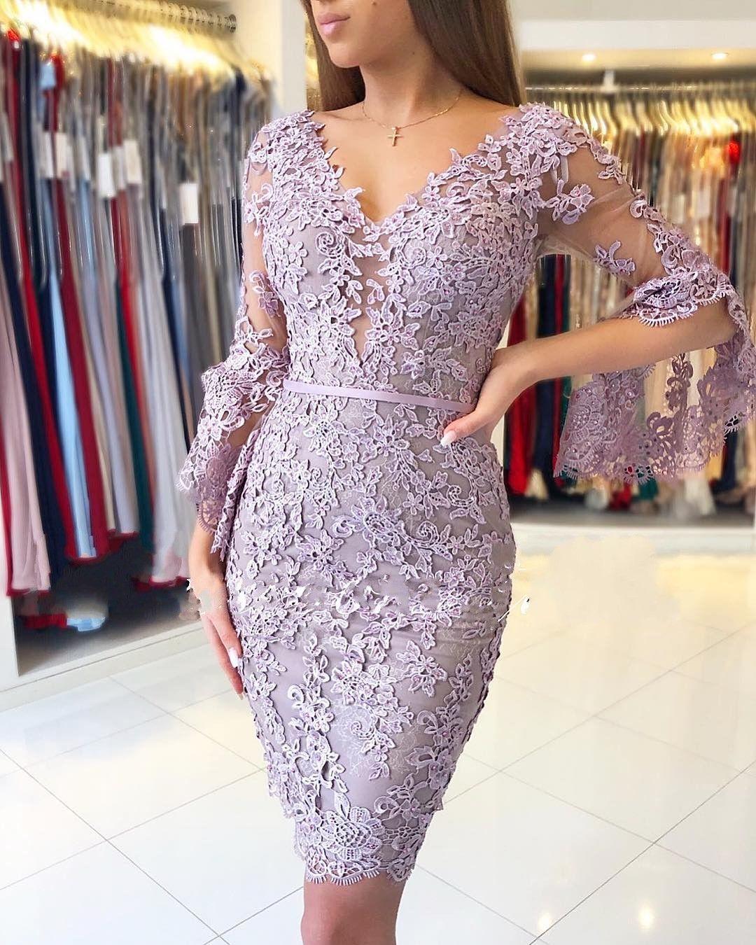 Elegante Purple Cocktailkleider Kurz  Spitze Abendkleider Mit