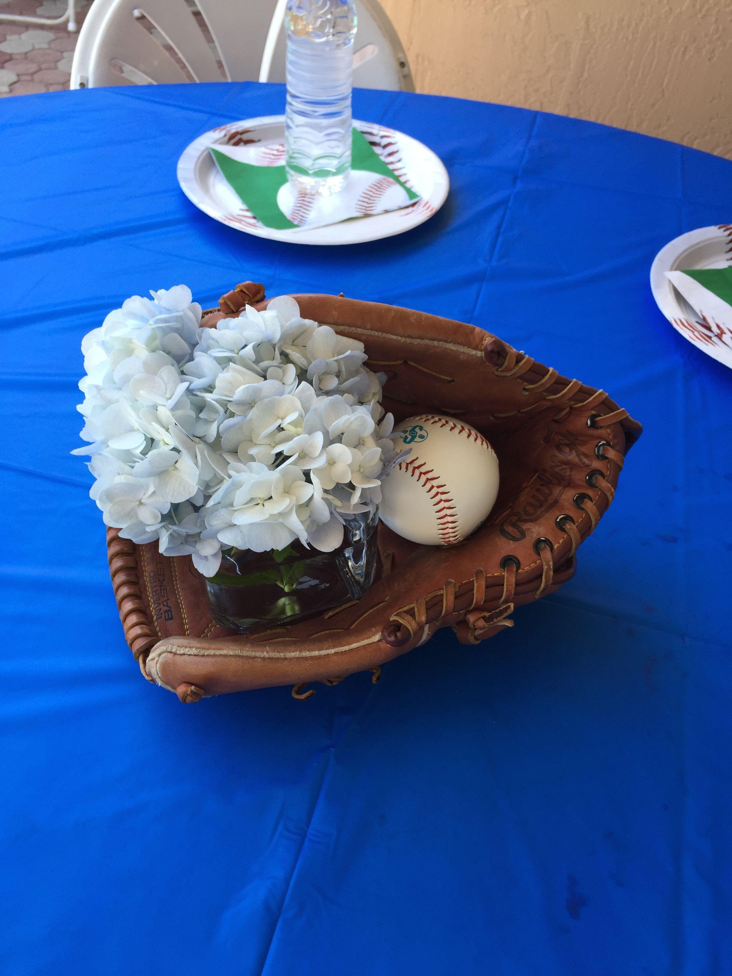 Baseball baby shower centerpieces glove baseball flowers home