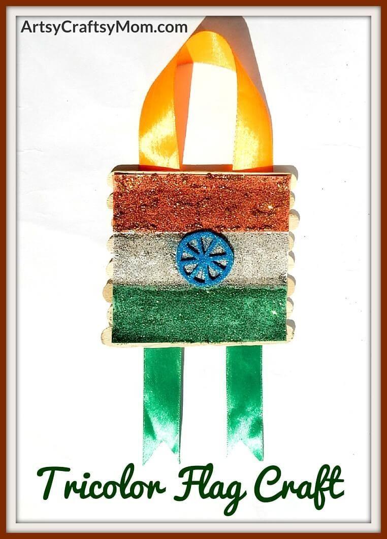 Popsicle Stick Tricolor Flag Craft Creative Mind Ideas Crafts