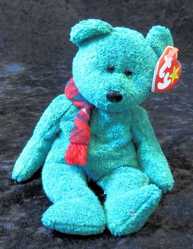 Beanie Babies Wallace January 25 1999 Green Teddy Bear 1 25 1999 Beanie Baby   Ty 6d20037ea06