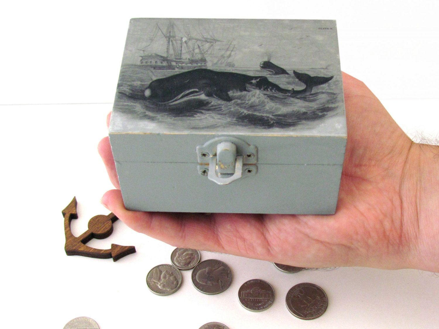Decorative Keepsake Box Whale Hunt Rustic Small Wooden Box  Whale Theme Decorative