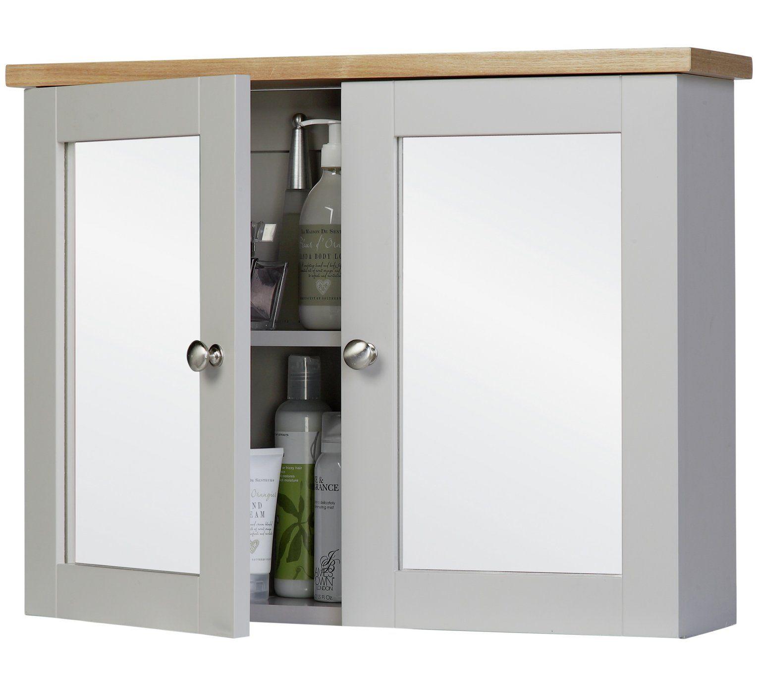 Buy argos home livingston mirror wall cabinet grey pine bathroom cabinets argos