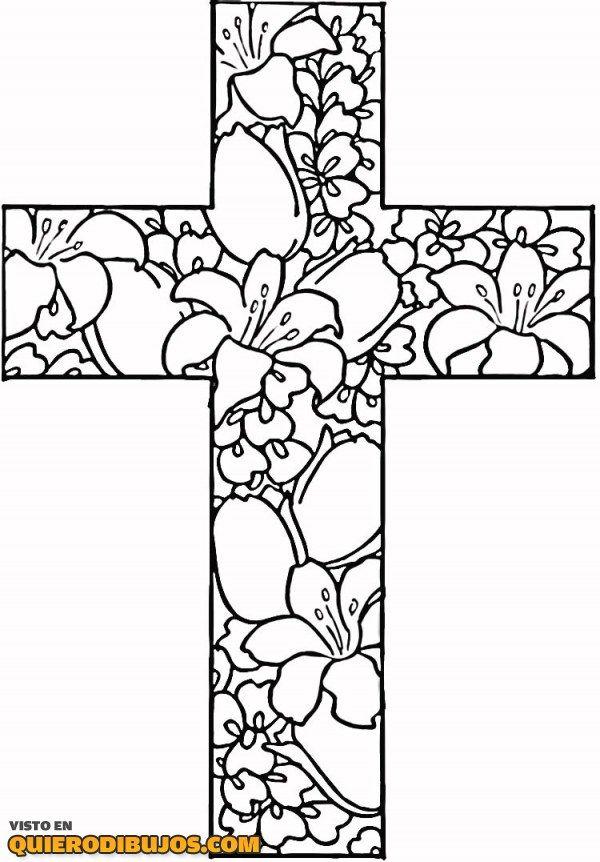 Cruz Con Muchas Flores Pascua Para Colorear Paginas Para