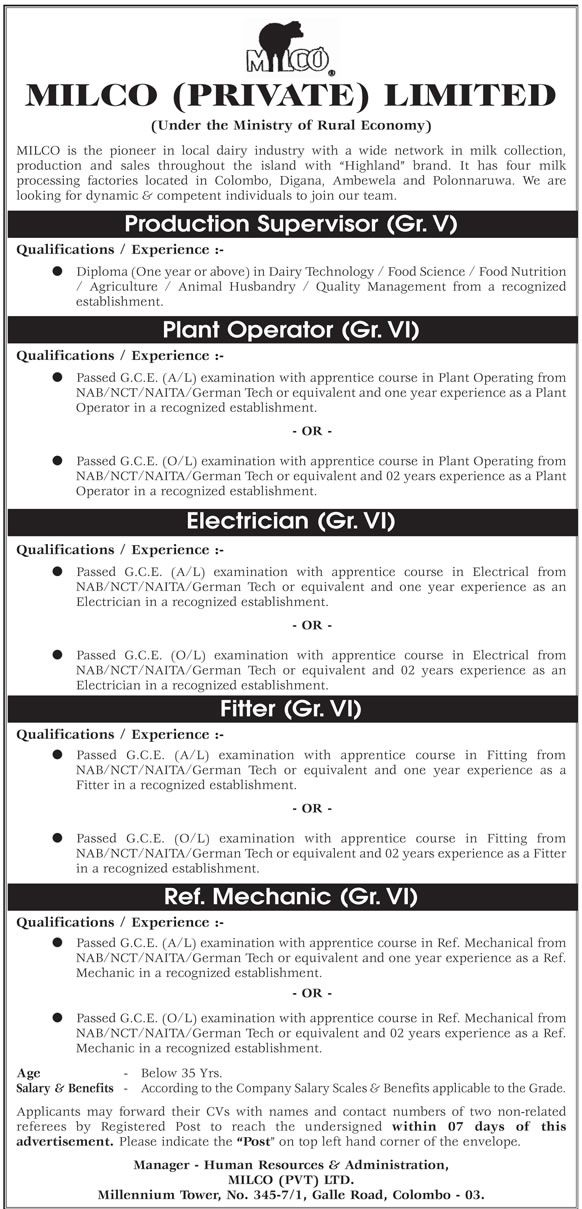 Production Supervisor Plant Operator Electrician Fitter Ref