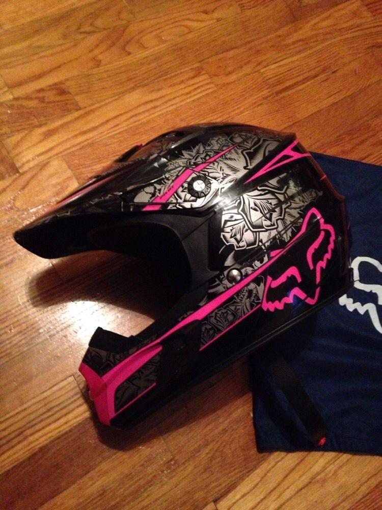 Women S Pink Black Silver V2 Pilot Helmet Motocross Fox Racing Large L Pink Ladies Black Pink Fox Racing