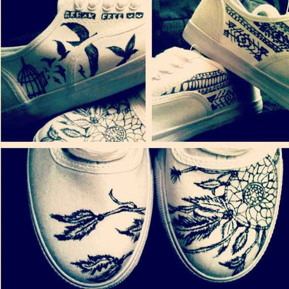 0eeddae2ae434 Happy to have an amazing sister who is drawing something like this on my  new white shoes