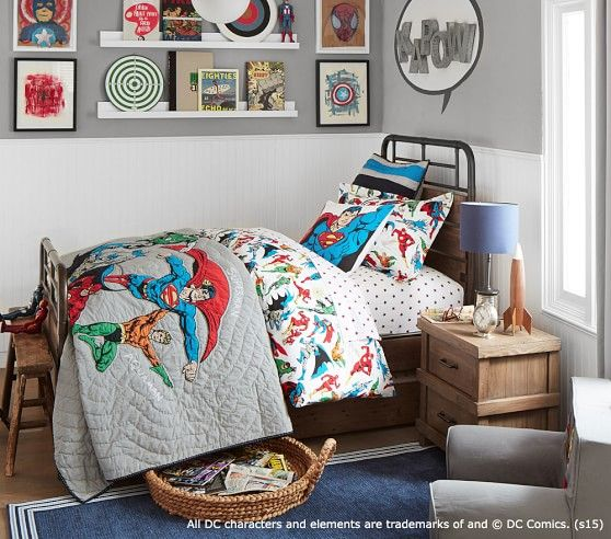 Justice League  Quilted Bedding   Pottery Barn Kids Navy rug white and gray  walls. Justice League  Quilted Bedding   Pottery Barn Kids Navy rug white