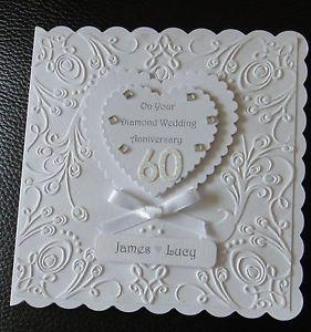 Luxury Diamond Wedding 60th Anniversary Card Personalised Hand Made