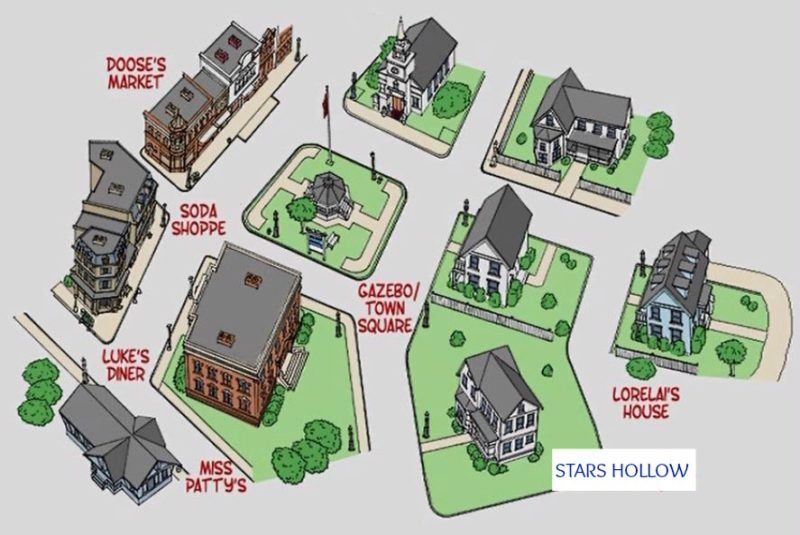 Stars Hollow Map Gilmore Girls: Fun Facts and Photos from the Town of Stars Hollow