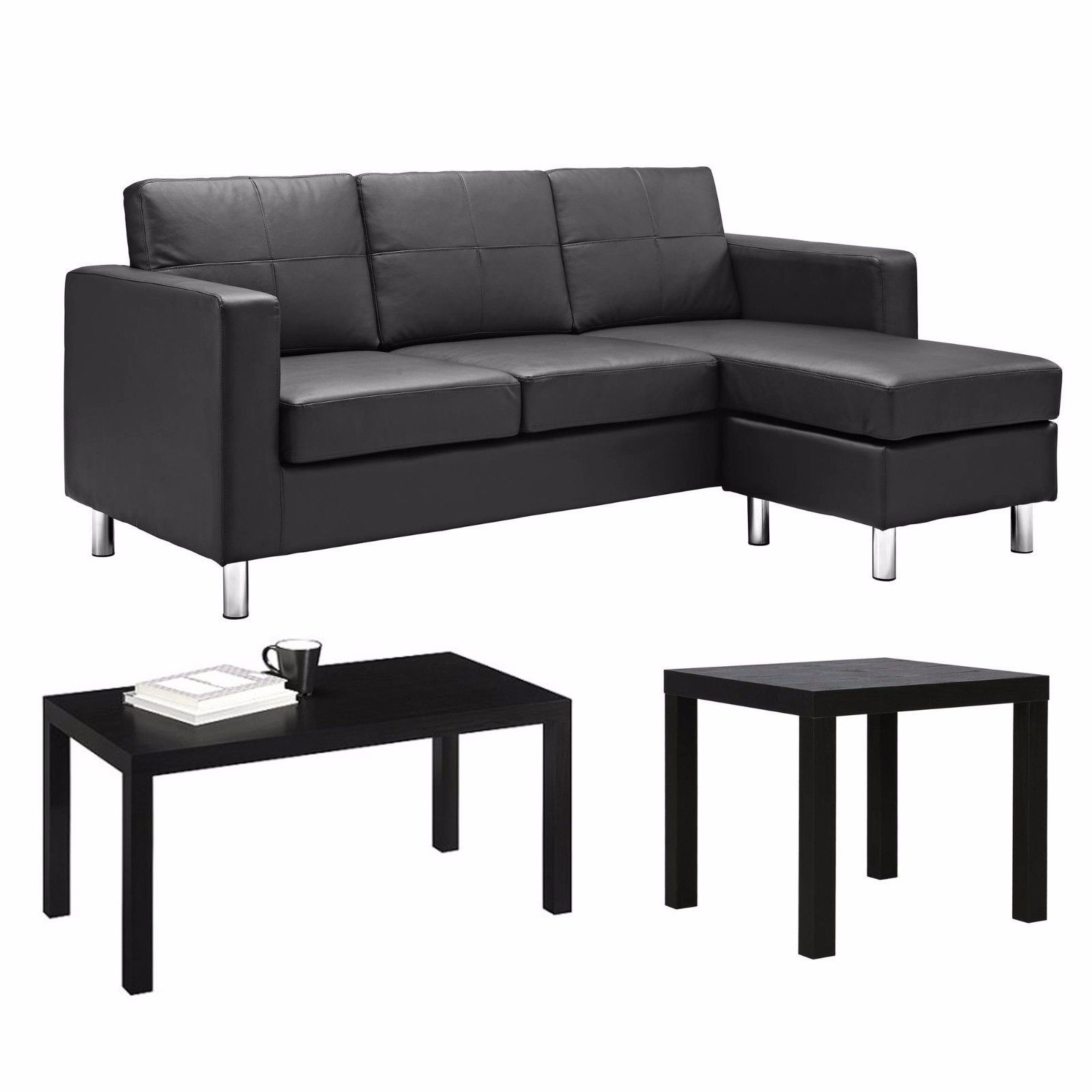 Living Room Furniture Set , Black Sofa , Black Couch , Sectional ...