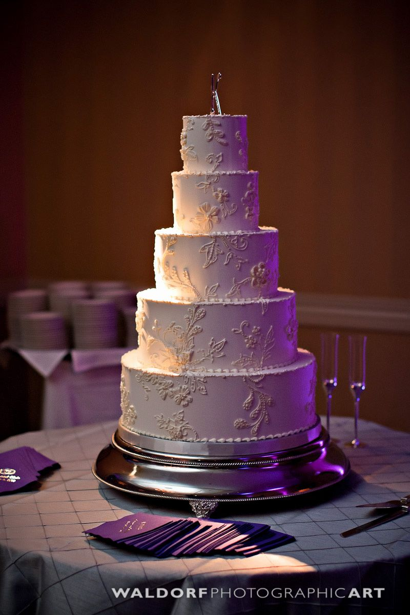 Magpies Bakery Knoxville, TN Beautiful Buttercream Wedding Cake With Custom  Hand Piped Lace Decor