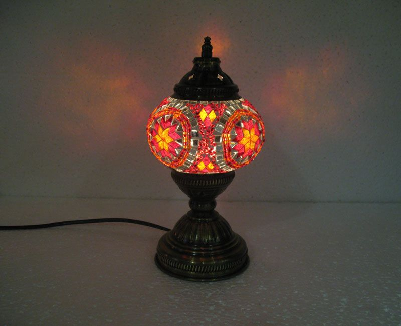 Red Yellow Mosaic Glass Table Lamp Tischlampe Moroccan Lantern Lampe Mosaique 37 Handmade Moroccan