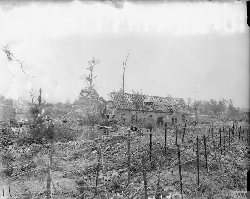 Barbed wire running through the ruined village of Mametz, 28 August ...