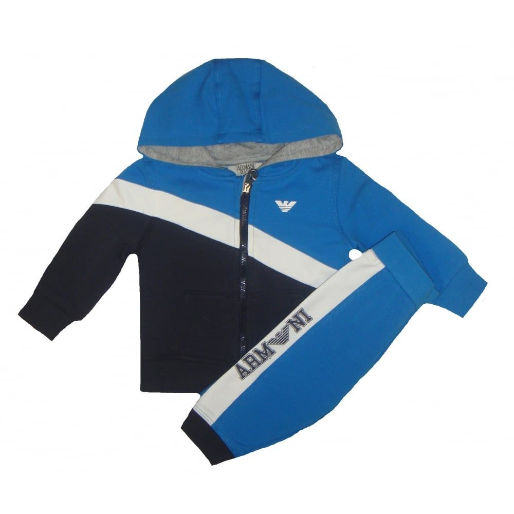 1c19e0501 Armani Junior Baby Boys Blue And White Tracksuit