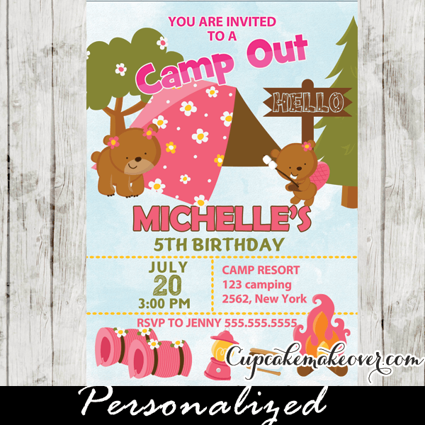 Outdoor Camping Girls Personalised Childrens Party Invitations