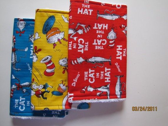 Baby Burp Cloths  Set of ThreeDr Seuss by HeartlandShop on Etsy, $18.00