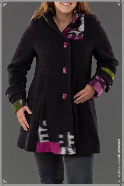 veste femme ronde en laine bouillie imprim e cercles. Black Bedroom Furniture Sets. Home Design Ideas