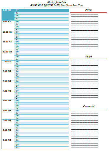 DailyScheduleTemplate  Daily    Schedule Templates