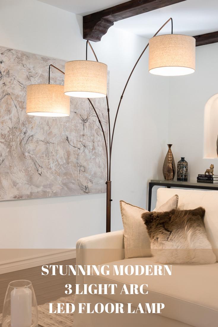 Trilage Modern Led Arc Floor Lamp Marble Base 3 Hanging