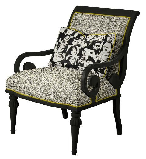 Norwalk Leather Sofa: Norwalk Ashley Chair In Black And White Pop Prints With A