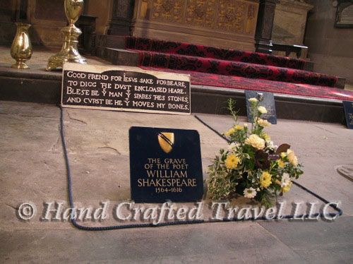 Travel Picture: Day 337. Shakespeare's grave in Holy Trinity Church, Stratford-upon-Avon, England. The sign reads: Good friend for Jesus sake forbear, To dig the dust enclosed here.  Blessed be the man that spares these stones, And cursed be he that moves my bones.