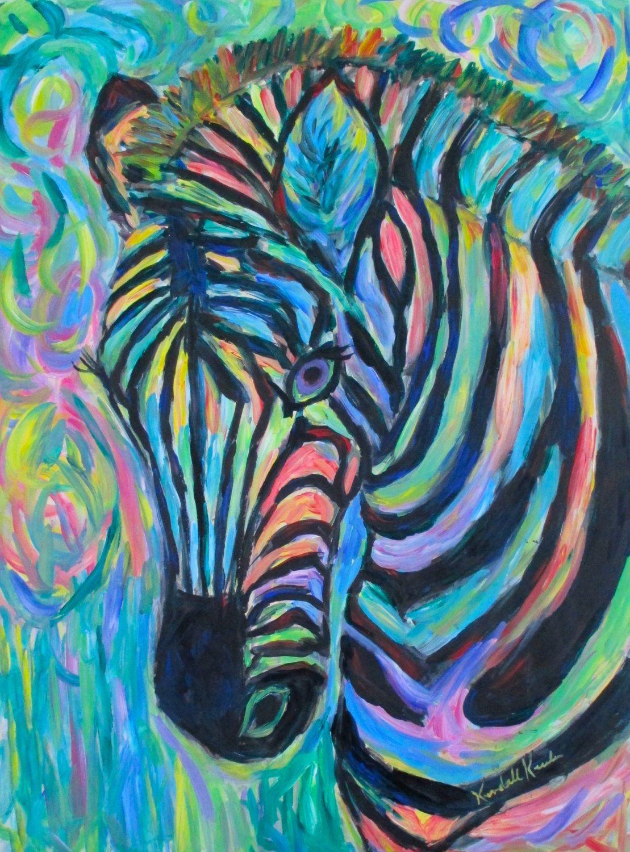 Zebra Curve Art 16x20 Original Acrylic Wildlife Framed Painting By